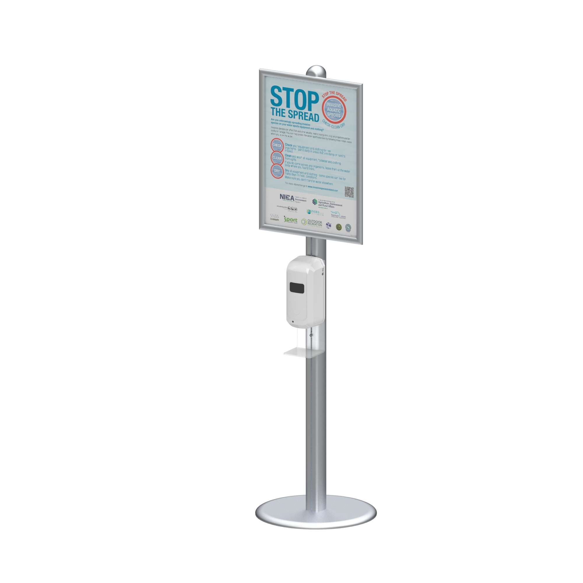Hand Sanitizer Dispenser Station Stand DS-F04A With acrylic sanitizer holder