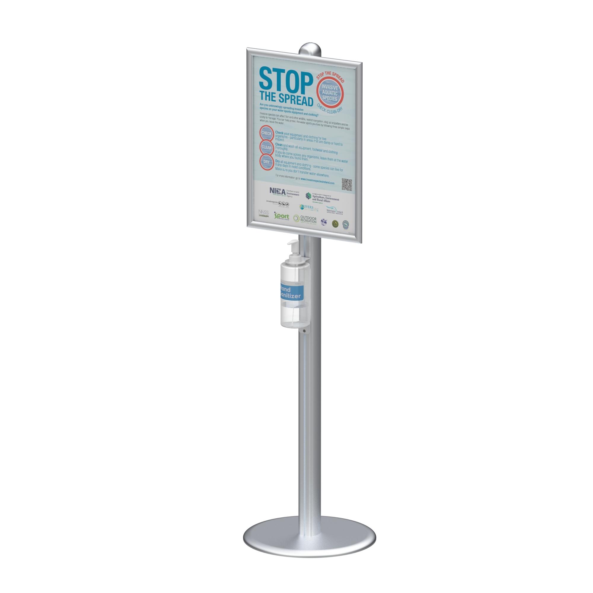 Hand Sanitizer Dispenser Station Stand DS-F04B With metal sanitizer bottle holder